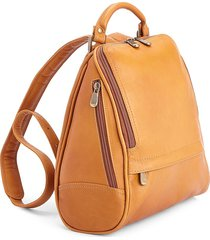 royce new york leather sling backpack - tan
