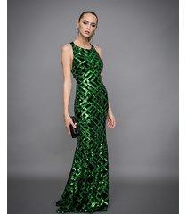 sukienka długa syrena z cekinami