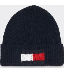 tommy hilfiger men's icon flag beanie sky captain -
