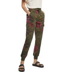 pantalón verde oliva-rosa desigual