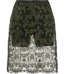 sacai sheer lace shorts - green