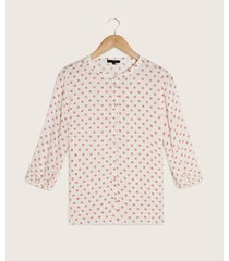blusa cuello redondo con pechera manga 3/4  estampada