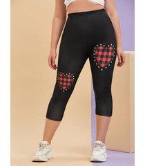 plus size plaid heart print skinny capri leggings