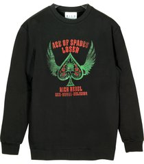 john richmond designer sweatshirts, black loser printed cotton men's sweater