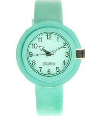crayo unisex equinox mint leatherette strap watch 40mm
