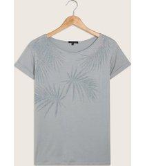 camiseta unicolor con estampado a tono-m