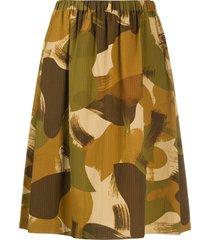 ymc camouflage print skirt - brown