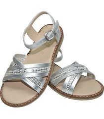 sandalia en cuero plata x folia plata pink girls