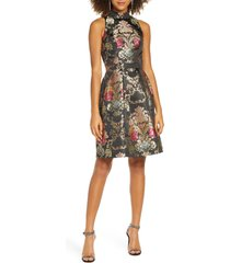 women's chi chi london amberly jacquard fit & flare cocktail dress