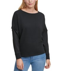 dkny mixed-media lace-trim sweatshirt