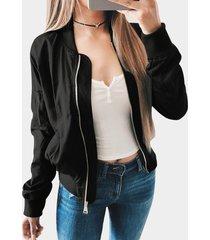 chaqueta de vuelo con detalles de cremallera de manga larga clásica negra