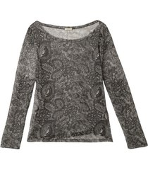 iets transparant tulen shirt met bloemenprint, grijs-bedrukt 40/42
