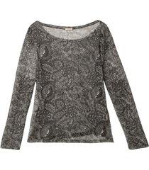 iets transparant tulen shirt met bloemenprint, grijs-bedrukt 36/38