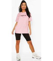 petite 'having fun' washed slogan t-shirt, pale pink