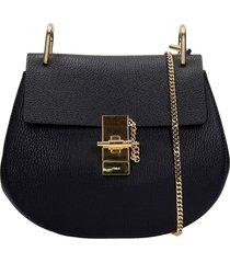 chloé drew shoulder bag in black leather