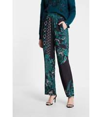 flowing trousers mandalas print - blue - xl
