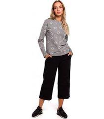 blouse moe m444 bedrukte top met lange mouwen - grijs