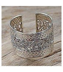 sterling silver cuff bracelet, 'swirl and dance' (thailand)