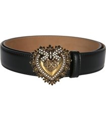 dolce & gabbana black leather devotion belt
