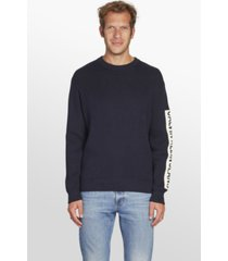 ribbed sleeve patch sweater azul calvin klein