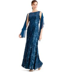alex evenings sequined gown & shawl