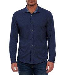 men's robert graham luke knit button-up shirt, size xxx-large - blue