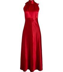 michelle bow-back silk midi dress