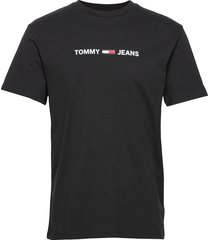 tjm straight small l t-shirts short-sleeved svart tommy jeans