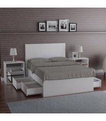 cama de casal  foscarini 22870 4 gavetas 100% mdf branco