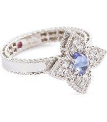 'princess flower' diamond tanzanite 18k white gold ring