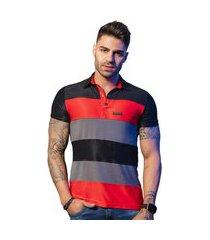 camiseta masculina pit bull jeans 35698 pitbull gola polo recortes preto, cinza e laranja