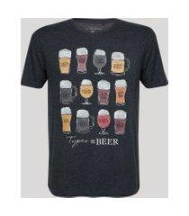 "camiseta masculina tipos de cervejas"" manga curta gola careca cinza mescla escuro"""