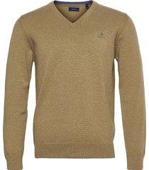 classic cotton v-neck stickad tröja v-krage beige gant