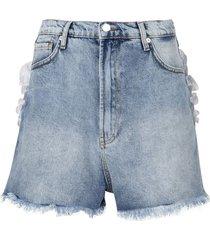 heart pocket denim shorts light wash blue