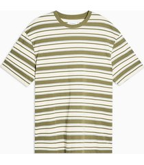 mens khaki and camel stripe pique oversized t-shirt