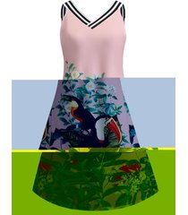 a line flower bird print sleeveless dress