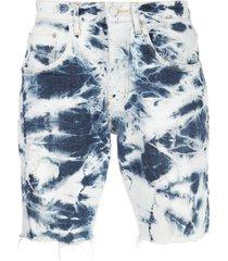 purple brand tie-dye print multi-pocket shorts - blue