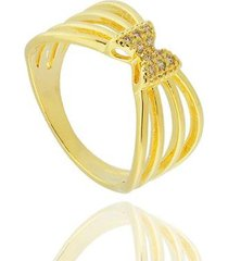 anel aros laço zircônia semi joia