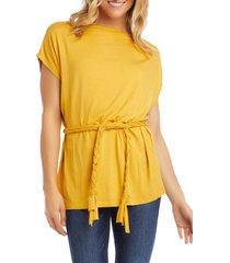women's karen kane belted tunic, size x-small - yellow