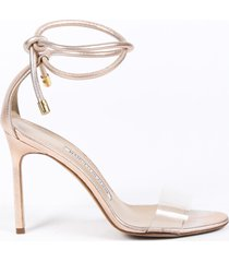 manolo blahnik estro metallic pink leather ankle tie sandals pink/metallic sz: 4.5