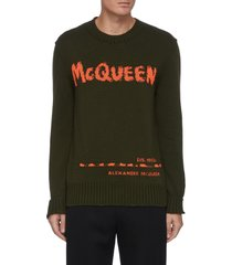 logo jacquard cotton sweater