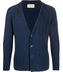 altea chevron-woven knitted cardigan - blue