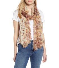 women's nordstrom print modal & silk scarf, size one size - brown