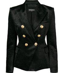 balmain rhinestone embellished blazer - black