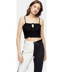 black shirred waist cami - black