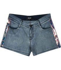 dkny denim shorts with lateral band
