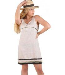vestido lino rayado beige alexandra cid