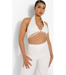 geribbelde crop top met halter neck, cream