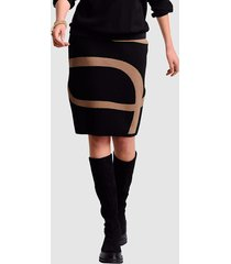 stickad kjol alba moda svart::konjak