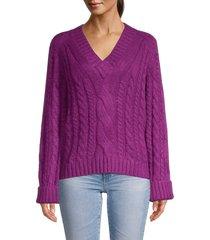 rebecca minkoff women's v-neck pullover sweater - dark raspberry - size s